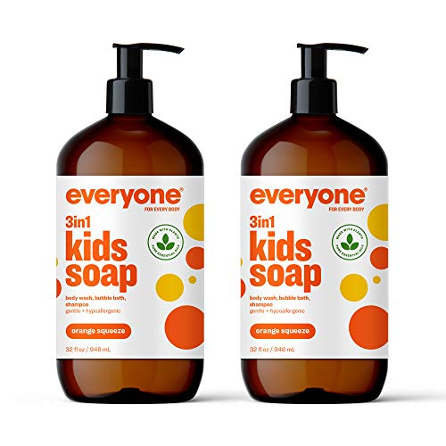 Everyone 3-in-1 Kids Soap: Body Wash, Bubble Bath, and Shampoo, Orange Squeeze, 32 Ounce, 2 Count- Packaging May Vary