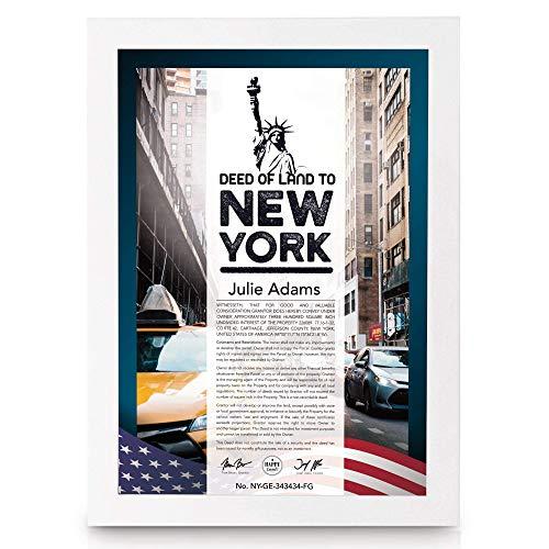 happylandgifts® Premium | Echtes Grundstück in New York als einzigartiges Geschenk | Personalisierte Besitzurkunde in Farbe | Edler Holzrahmen