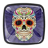DEYYA Drawer Knobs Mexican Sugar Skull 4PCS Square Crystal Glass Cabinet Door Pulls Ergonomics Handles