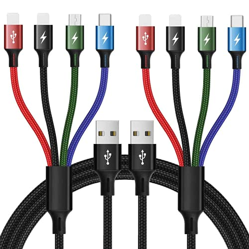 Julplay - Cable USB múltiple (1,2 m, 4 en 1, cable de carga para Dual IP/USB C/Micro USB, adaptador compatible con teléfonos móviles/tabletas (2 x Dual IP, 2 unidades)