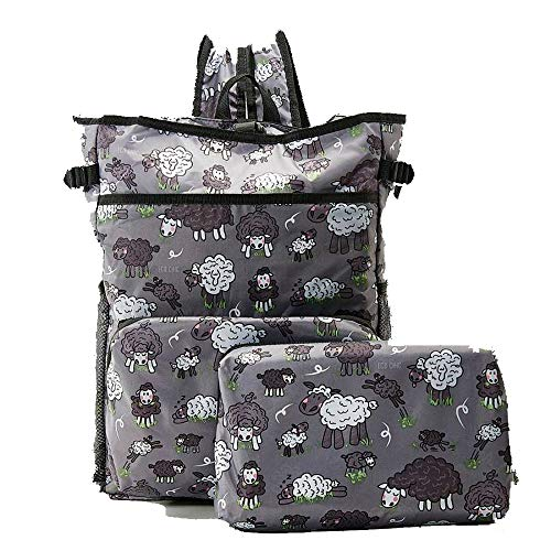 ECO CHIC Lightweight Foldable Backpack Cooler - Ruck Sack Cool Bag - Sheep (Grey) J09GY