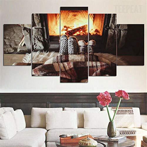 WJWORLD Gezellige familie voor huis paar open haard canvas afdrukken muurkunst thuis 5 stuks 20x35cmx2,20x45cmx2,20x55cmx1 Frameloos