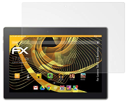 atFolix Panzerfolie kompatibel mit Lenovo Tab 3 10 Business Schutzfolie, entspiegelnde & stoßdämpfende FX Folie (2X)
