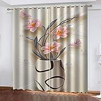 遮光カーテンリビングルーム寝室カーテンデコレーション - ファッション花瓶の印刷 200 X 160 CM(幅 x 高さ)