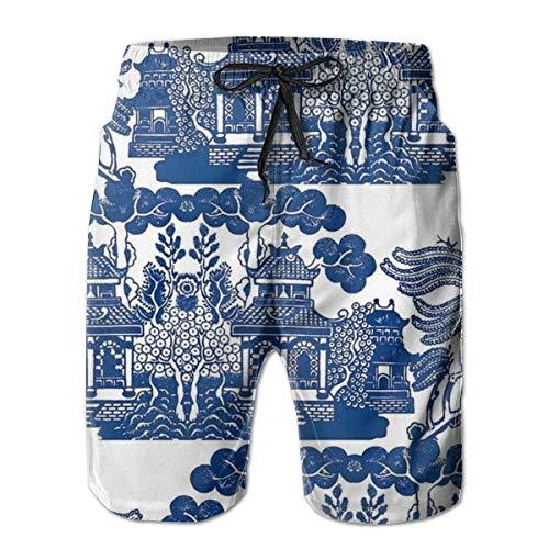 QUEMIN Blauer Pavillon Landschaftsmalerei Männer Mode Badehose Schnelltrocknende Sportlaufshorts Summer Beach Shortss Boardshorts mit Tasche L