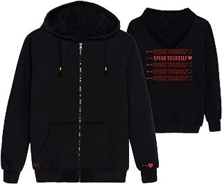 Kpop BTS Zipper Hoodie Love Yourself Speak Yourself Sweatshirt Jimin Suga Jungkook V RM World Tour Zip Up Jacket