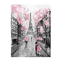 Xchomecp-アートパネル 15.7x23.6in(40x60cm)x1pcs Frameless15.7x23.6in(40x60cm)x1pcsフレームレスピンクロマンチックシティカップルパリエッフェル塔風景キャンバス絵画ポスターとリビングルームの装飾のためのプリントウォールアート写真