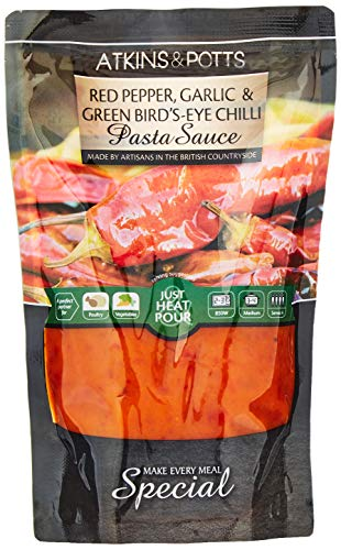 Atkins & Potts Red Pepper Garlic and Green Bird's-Eye Chilli Pasta Sauce, 350 g