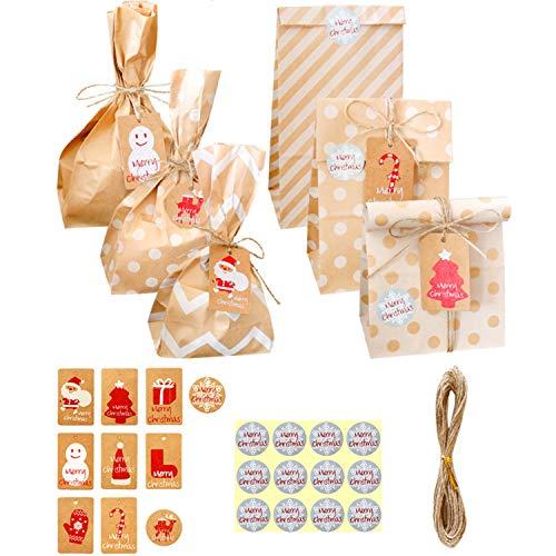 10 sacchetti di Natale, in carta kraft, sacchetti per bomboniere, per decorazioni natalizie, con il conto alla rovescia e gli adesivi di ringraziamento, con corda di canapa