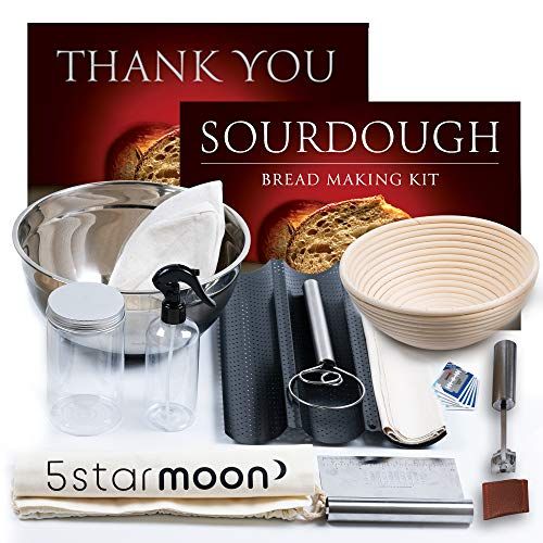 Artisan Sourdough Bread Making Tools-Complete Sourdough Bread Making Kit. Banneton Proofing Basket, Dough Scraper, Bread Lame, Baguette Bread Pan & Bread Making Tools. Ideal Gifts for Baker. Set of 12