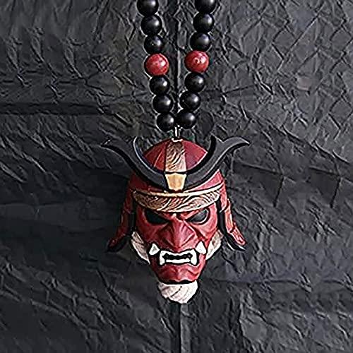 ZLHW Colgante para colgar en el coche con casco de samurái, adorno de espejo de coche con máscara de Oni japonesa, adorno de máscara de Oni de demonio asesino de samurái, para decoración, accesorios d