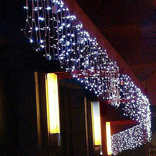 Bakaji Lighting Tenda Cascata Luminosa Bianco Freddo 250 x 75 cm Prolungabile Fino a 50MT 126 Maxi LED con FLASH, Luci per Esterno Natalizie (Luce Bianco Freddo)
