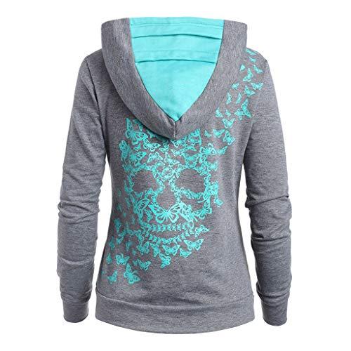 Neue Hoodies für Frauen,Evansamp Art- Und Weisedame Long Sleeve O-Ansatz Übersteigt Beiläufiges Blusen-T-Shirt Schmetterlings-Schädel-Druck-Taschen-Hoodie(Sky Blue,L4)