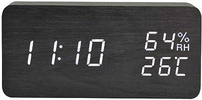 cuckoo-X - Reloj Digital de Madera con luz LED Luminosa, luz Rectangular de