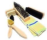 Bambelaa! Kit de nettoyage/entretien pour chaussures 6pièces, brosses à chaussures, avec sac de rangement