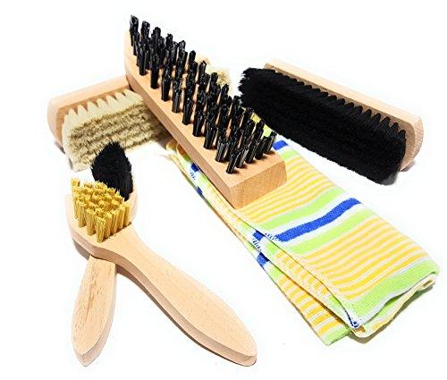 Bambelaa! Kit de nettoyage/entretien pour chaussures 6 pièces, brosses à chaussures, avec sac de rangement