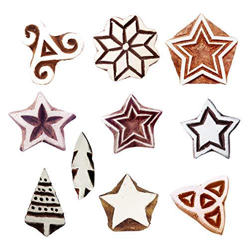 Royal Kraft Star Hölzern Drucken Briefmarken (Set von 10) - DIY Henna Stoff Textil Papier Ton Töpferei Block Blöcke Htag2174