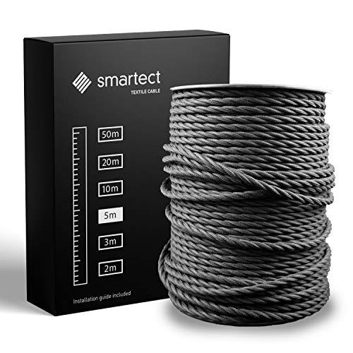 smartect Textilkabel Schwarz - 5 Meter Vintage Lampenkabel aus Textil - 3-Adrig (3 x 0.75 mm²) - Stoffummanteltes Stromkabel für DIY Projekt