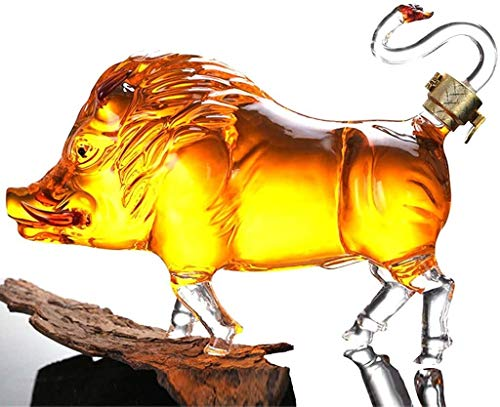 Decantador De Whisky Decantador De Licor Cristal Jarra De Vino De Vidrio En Forma De Jabalí, Decantador De Whisky De 1000 Ml, Botella Artística De Cristal De Cristal, Artesanías De Cristal Soplado A M
