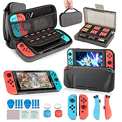 Case & Accessory Kit for Nintendo Switch, innoAura 11 in 1 Switch Bundle include Carrying Case, Game Card Slot Holder, TPU Cover, Joy Con Covers, Thumb Caps, Screen Protector