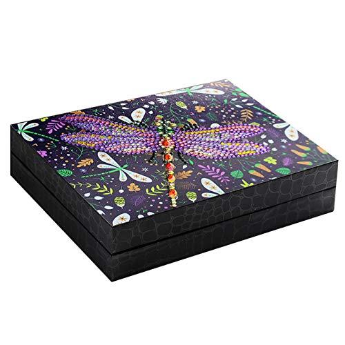 Amusingtao - Joyero de piel sintética para regalo de escritorio, organizador de orejas, anillos de viaje, collar portátil, para mujeres y niñas, vitrina 5D DIY pintura con diamantes en casa (B.)