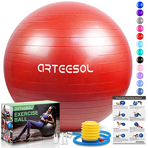 arteesol Gymnastikball, Balance Ball 45cm/55cm/65cm/75cm Yoga Ball mit Pumpe Anti-Burst Fitness Balance Ball für Core Strength (65 cm, Rot)