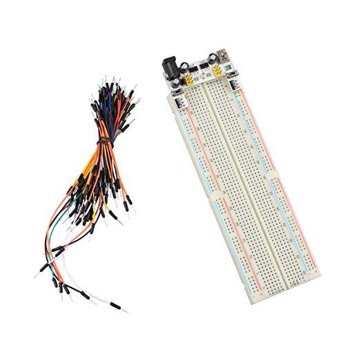 HALJIA Modulo di alimentazione 5 V 3.3 V 2 Channel MB102 Breadboard 65 Jumper fili kit Compatibile con diy arduino