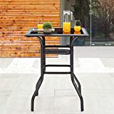 LOKATSE HOME Patio Bar Height Outdoor Table Bistro Square Outside High Top with 2-Tier Metal Frame (27.6'x 27.6'x 36.2'H), Black
