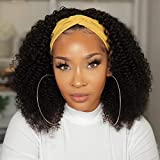 VTAOZI Headband Wigs for Black Women Kinky Curly Headband Wig Human Hair 9A Glueless None Lace Front Wigs 150% Density Afro Kinky Curly Half Wigs Natural Color 14 Inch