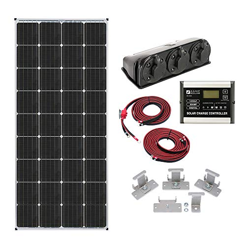 Zamp solar Legacy Series 170-Watt Roof Mount Solar Panel Kit with Digital Charge Controller. Durable Off-Grid Solar Power for RV Battery Charging - KIT1005