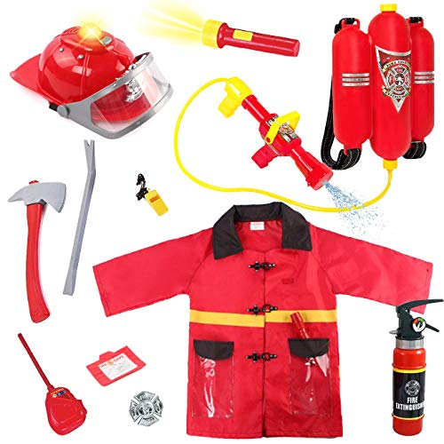 Liberty Imports Kids 12 Piece Fireman Gear Firefighter Costume Role Play Dress Up Toy Set with Helmet and Accessories (Deluxe)