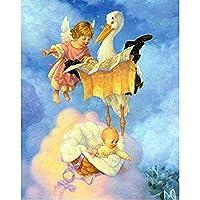 赤ちゃんと天使のデジタルツールキット油絵子供キャンバスクリスマスデコレーションブラシ付き40x50cmフレームレス