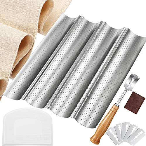 French Bread Baking Pan Nonstick Perforated Baguette Pan 4 Wave Loaves Loaf Bake Mold Proofing Couche Dough Cloth Bread Lame with 5 Replacement Blade and Protective Cover Dough Scraper