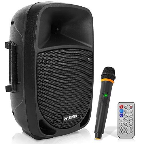 Pyle PSBT85A Altavoz autoamplificado Karaoke portátil con batería Woofer 8' Bluetooth y micrófono inalámbrico