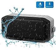 Wasserdichtes Bluetooth Duschradio, Bluetooth Lautsprecher Wasserdicht, 8h Spielzeit und TF Card AUX Input Outdoor Tragbarer Lautsprecher und Ingebauten Mikrofons-Grau