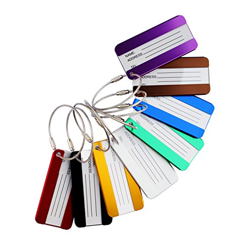 8 Pack Aluminium Metal Travel Luggage Tags Suitcase Card Holder Baggage Name Address ID Bag Label with Key Ring