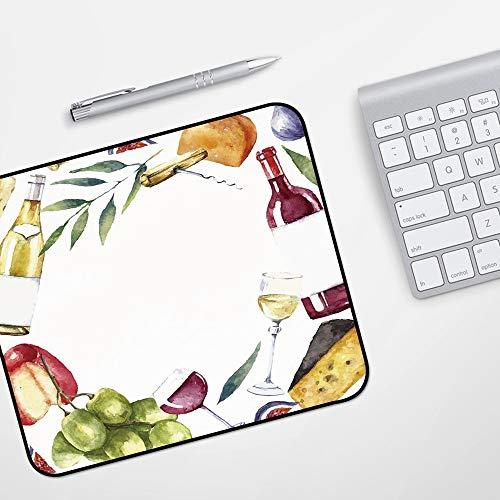 Gaming Mousepad Mauspad,Wein, runder Rahmen mit handgemalten Lebensmitteln Aquarell Wein Käse Obst Sammlung Dekorativ, Mehrfarbig,Komfort Mousepad - verbessert Präzision und Geschwindigkeit