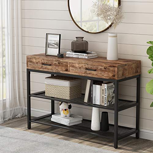 Tribesigns Schmaler Konsolentisch, 2 Schubladen, Beistelltisch, Eingangstisch für Heimbüro, industrieller Holz- und Metall-Beistelltisch mit 2 Etagen Netz-Aufbewahrungsregal für Flur