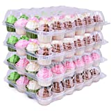 Himetsuya 24 Cavity Cupcake Boxes - 6 packs -Stackable Regular Cupcake Carrier Holder, Thicker Clear Cupcake Boxes, Non-slip High Topping Cupcake Containers for Cupcakes, Muffins (24 cavity)