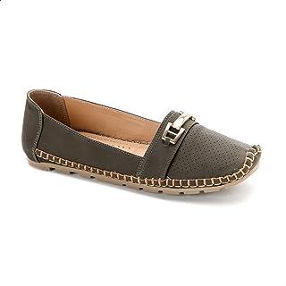 حذاء مسطح جلد صناعي مخرم مع خياطة مختلفة اللون للنساء من جرينتا