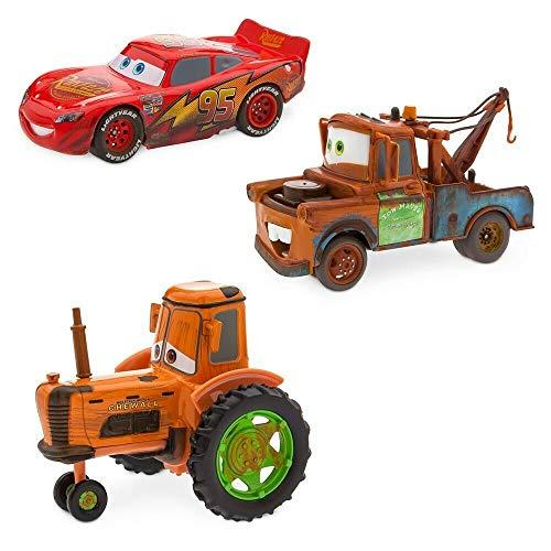 Disney Store - Juego de coches de coche de Cars Radiator Springs - Rayo McQueen - Tractor de trinquete, máquinas de marcha atrás y liberación originales de Disney