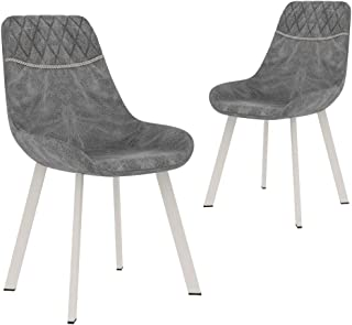 vidaXL 2x Dining Chairs Modern Home Office Cafe Kitchen Dinner Room Bar Stool Furniture Black Faux Leather