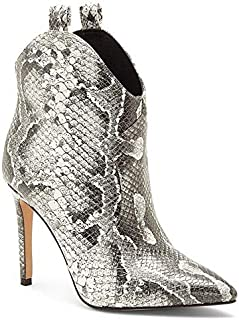 Pixille Black White Snake-Print Western High Heel Booties