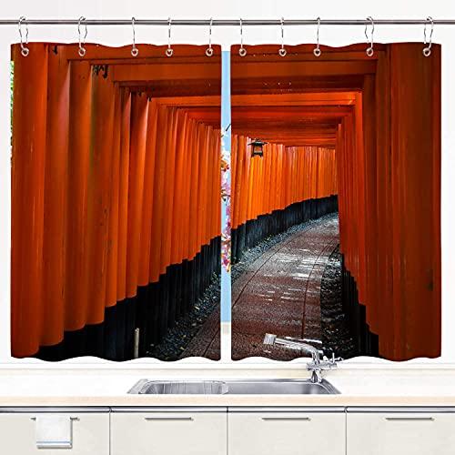 MIFSOIAVV Cortina de Cocina Japón Camino de la Puerta Torii Espiritual Juegos de Tratamiento de Ventanas Cortinas 2 Paneles con Ganchos,140x100CM