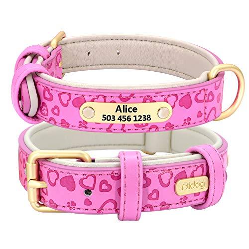 Didog Collar de perro de cuero acolchado suave y cómodo con proceso de repujado - Collar personalizado para perros y gatos grabado para mascotas - vibrante selección de 5 colores para todas la