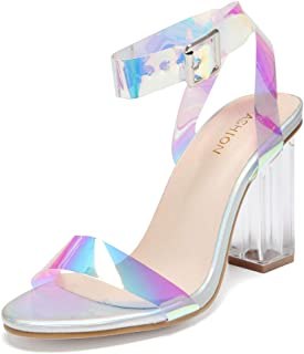 Clear High Heels for Women Adjustable Buckle Chunky High Heel Clear Ankle Strap Open Toe Sandals