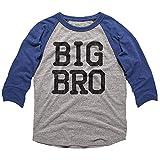 American Classics Big Brother 3/4 Sleeve Baseball Tee Shirt Big Bro Boy Gift Pregnancy Announcement Toddler Boy, Gray Heather/Vintage Royal, 3T