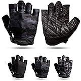Fitgriff® Guantes de entrenamiento V3 para hombre y mujer – Guantes de fitness para entrenamiento de fuerza, deportes de fuerza, entrenamiento – Gym Workout Gloves (Camo-Black 7)
