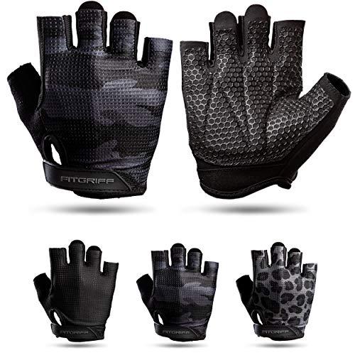 Fitgriff® Trainingshandschuhe V3 für Damen und Herren - Fitness Handschuhe für Krafttraining, Kraftsport, Training - Gym Workout Gloves (Camo-Black, 9)