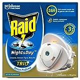 Raid Night & Day Trio Base, Antizanzare e Repellente Mosche, Contiene 1 Diffusore e 1 Ricarica, Senza Profumo